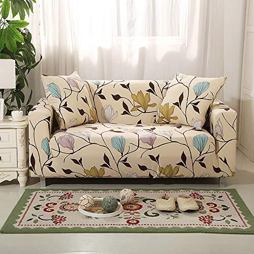 WXQY Sillón con Estampado de Hojas Funda de sofá elástica protección para Mascotas Sala de Estar en Forma de L Funda de sofá de Esquina combinación única A8 4 plazas