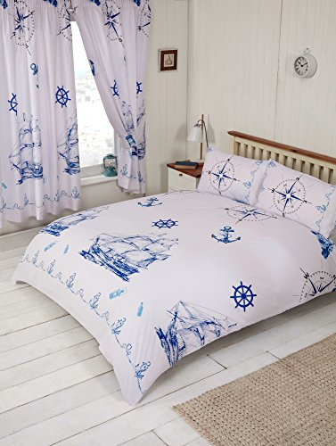 Single Bed Nautical Theme, Duvet/Quilt Cover Bedding Set, by MY HOME, Boat Ship Anchor Wheel Compass Lamp Lighthouse Rope Bottle, Blue Navy White