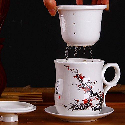 XIDUOBAO cinese in porcellana fatta a mano, stile Kung Fu-Tazza da tè in ceramica, Tazza da tè con foglie di tè per birra, disegnato, con infusore per tè con coperchio Tazza & piattino