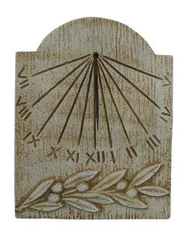 CATART Reloj de Sol en hormigón-Piedra Pared Exterior Rama Oliva 39X50cm.