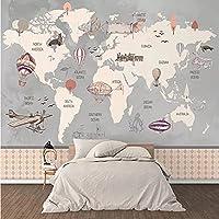 カスタム装飾壁画 キッズ世界地図手描き壁画カスタムレトロ熱気球キッズルーム壁紙防水装飾