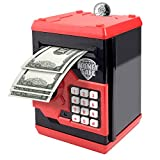 Suliper Electronic Piggy Bank Code Lock for Kids Baby Toy, Mini ATM Safe Coin Cash Banks Real Money Saving Box with Password, Auto Money Scroll for Children,Boys Girls Birthday Gift (Black/Red)