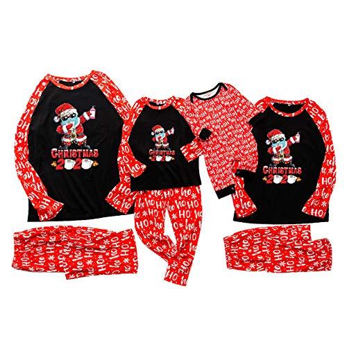 Dasongff Pijama de Navidad para familia y juegos de ropa navideña, diseño de patchwork, tops y pantalones, pelele para mamá, papá, niños pequeños, ropa de noche para fiestas de Navidad