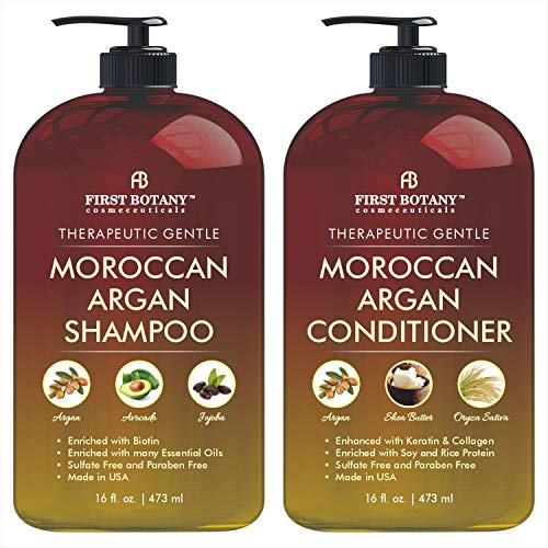 Moroccan Argan Oil Shampoo and Conditioner Set with Restorative Formula Gentle & Sulfate Free for All Hair Types. Cleanses, Revives, Hydrates, Detangles Hair & Revitalizes the Scalp & Split-Ends 16 fl oz x 2