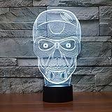 3D-Nachtlicht, Nachtlicht, 3D-Nachtlampen, coole Gesichtsmaske, Stereo-Vision, die Schlafzimmer-Nacht-Baby-kreative Geschenke ändert