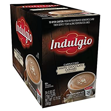 Indulgio Cappuccino for K-cup Brewers, White Chocolate Caramel, 24 Count