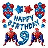 Yinyimei Globos 42pcs / Set 3D Spiderman Foil Globo Latex Air Globos Niños Cumpleaños Fiesta Decoración Baby Shower Inflables Niños Juguetes (Color : 9)
