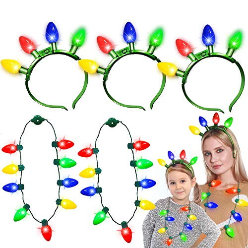 6 Pack Christmas Light up Necklace Headband with Colorful LED Glow Bulb 6 Flashing Modes for Kids Adults Christmas Accessories Funny Xmas Party Favor Supplies Gift(3 Necklace + 3 Headband)