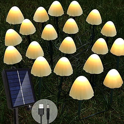 Solar Mushroom Light Outdoor Garden Stake Lights,Set of 15 LED Mini Mushroom Lamp Waterproof for Patio,Yard,Christmas,Wedding,Pathway Landscape Decorations(Warm White)