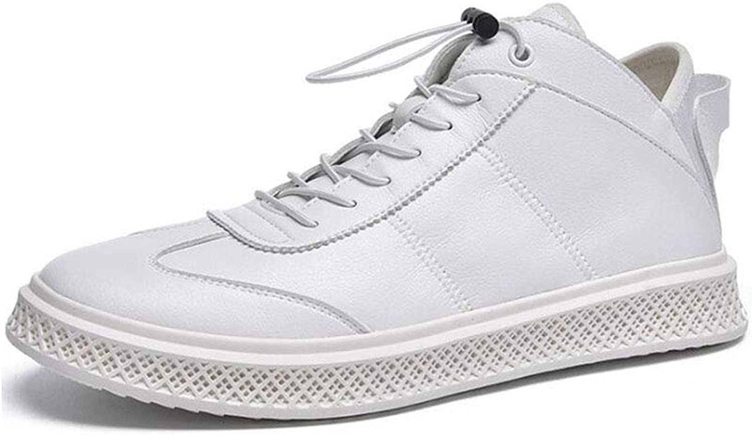ECSD Men's Leather High Top Fashion Sneaker Spring And Winter Casual shoes Board shoes (color   White, Size   EU43 UK9 CN44)