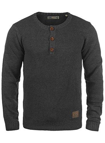 !Solid Terrance Herren Strickpullover Feinstrick Pullover Mit Rundhals Und Knopfleiste, Größe:L, Farbe:Dark Grey Melange (8288)