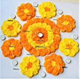 PRAHLL Rangoli Tealight Diyas Artificial Marigold Flower Mat on Canvas for Diwali and Decorations (Pack of 19 Pieces-1-12 Inch Mat, 8-6 Inch Mats, 1 tlite Holder, 9 tlite)(Orange & Yellow)- plastic