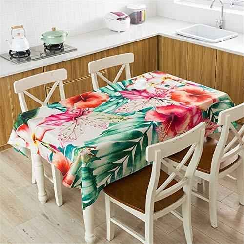 XXDD Mantel de Planta Tropical Mantel Impermeable Mesa de Comedor y Silla Mantel de algodón Cubierta de Mesa de Comedor en casa decoración A8 140x160cm