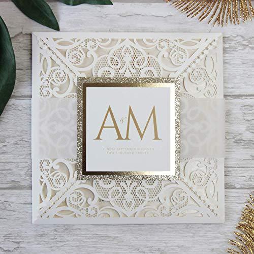 Carta con busta partecipazioni matrimonio taglio laser fai da te crema inviti matrimonio - campione prestampato !!