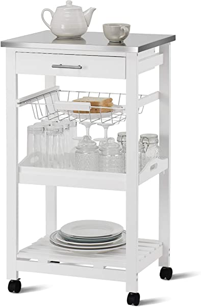 Giantex Kitchen Island Cart Rolling Kitchen Trolley With Stainless Steel Tabletop Utility Storage Cart Restaurant Hotel Serving Cart With Casters Drawer Basket Removable Dining And Shelf White