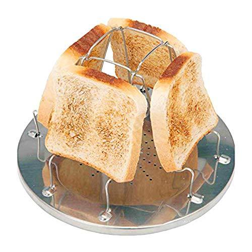 Edelstahl Toastregal Camping Toaster mit faltbarem Ständer Poröses Tablett Brot Toaster für Familien Outdoor Camping Picknick Faltbares Brot Toastregal