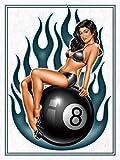 RXsXianR Pin Up Pool Table 8 Ball Retro Metal Tin Sign Vintage Aluminio Cartel para el hogar Café De...