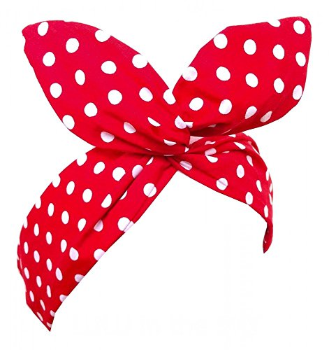 shoperama Pinup Haarband mit Draht - Polka Dot - Rot/Weiß