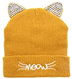 MIRMARU Women's Soft Warm Embroidered Meow Cat Ears Knit Beanie Hat with Stone Embellished (Mustard)
