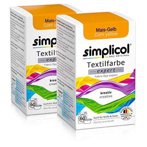 Simplicol Textilfarbe expert Mais-Gelb 1701, 2er Pack: Farbe für kreatives, einfaches Färben in der Waschmaschine oder manuell