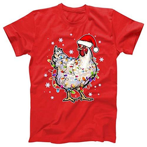 KPILP Frohe Weihnachten Lustiges Geschenk Herren Damen T-Shirt Bluse Kurzarm Drucken Rundhals-Ausschnitt Weihnachts Shirt Weihnachten Geschenk Xmas T-Shirt