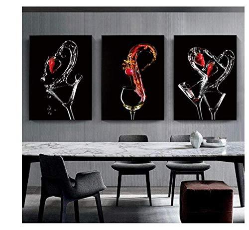 Rzhss Copas De Vino Románticas Modernas Carteles De Fresas Imágenes Pinturas En Lienzo Galería De Arte De Pared Comedor Bar Decoración Del Hogar-40X60Cmx3 (Sin Marco)