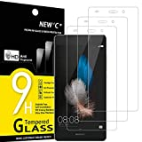 NEW'C 3 Stück, PanzerglasFolie Schutzfolie für Huawei P8 Lite, Frei von Kratzern Fingabdrücken & Öl, 9H Festigkeit, HD Bildschirmschutzfolie, 0.33mm Ultra-klar, Ultrawiderstandsfähig