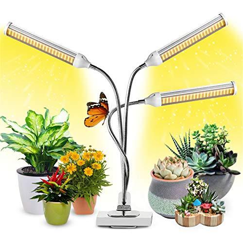 Garpsen Pflanzenlampe LED, Pflanzenlicht mit Auto ON/Off Timer 315 LEDs mit sonnenähnlichem Vollspektrum, 3 Heads Grow Lampe 3/6/12H, 3 Arten von Modus, 5 Helligkeitsstufen