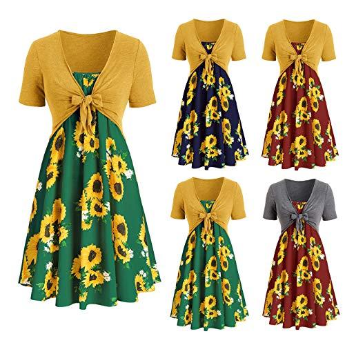 Lomelomme Damen Kleid Sommerkleider Sonnenblume Print Freizeitkleider Elegant V-Ausschnitt Bogen Slim Summer Strand Kleid Partykleid...