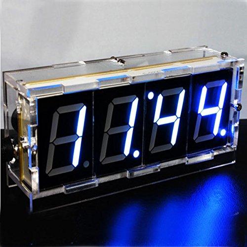 AlumiGogo DIY 4 Digit LED Electronic Clock Kit Large Screen Red Blue LED
