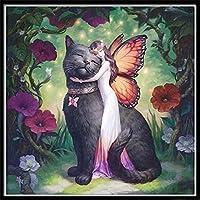 GHXCTKUクロスステッチキット ダイヤモンドの絵画ギフト絵画クロスステッチホームデコレーション刺繍絵画5D DIYのダイヤモンド黒猫蝶の天使