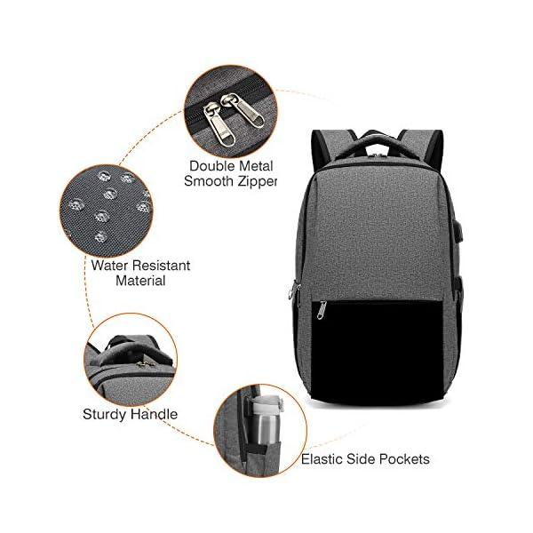 51JYSt3LgJL. SS600  - XQXA Mochila para Portátil, Mochila Unisex Impermeable para Ordenador Portátil de hasta 15.6 Pulgadas,con Bolsillo Antirrobo y Puerto USB para Carga,para los Estudios,Trabajo o Viajes - Gris