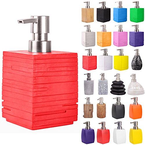 Sanilo Seifenspender | viele schöne Seifenspender zur Auswahl | modernes, stylisches Design | Blickfang für jedes Badezimmer (Calero Red)