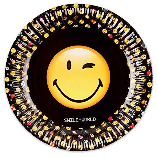 NET TOYS 8 Teller Smiley Emoticons | Durchmesser 23 cm | Angesagte Party-Deko Emoji Pappteller Partygeschirr geeignet für Kindergeburtstag & Sommerfest