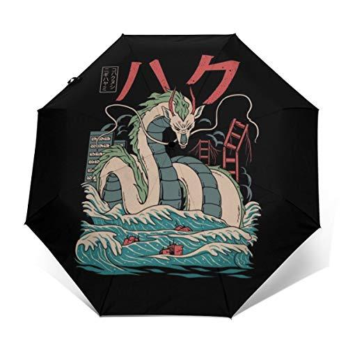Spirited Away Regenschirm, Haku Drache, Winddicht, kompakt, automatisch, faltbar, Reise-Sonnenschirm