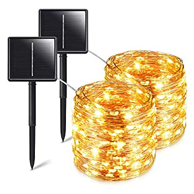HUPULL Solar String Lights?2-Pack Solar Lights Outdoor?Each 72ft 200LED Solar Fairy Lights with 8 Lighting Modes, IP65 Waterproof Decoration Copper Wire Lights for Garden Patio Party (Warm White)
