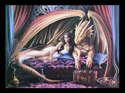 3D Lentikular Bild mit Drachenprinzessin und Drachen - Inner Sanctum | Wandbild, Motiv von Anne Stokes, 39,5x29,5 cm