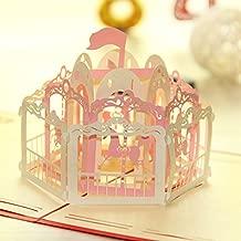 AKOAK 13 x 16 Cm Carousel 3D Pop Up Greeting Card For Handmade Kirigami & Origami Happy Birthday Wedding Anniversary Friendship Merry Christmas Thanksgiving Day (1Pcs,Pink)