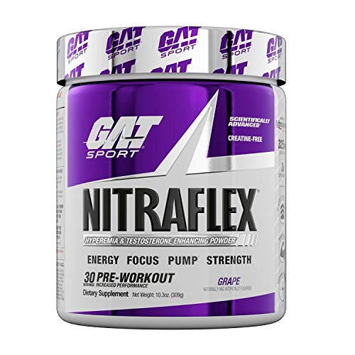 GAT Sport, NITRAFLEX Testosterone Enhancing Powder, Increases Blood Flow, Boosts Strength & Energy, Improves Exercise Performance, Creatine-Free (Grape, 30 Servings)