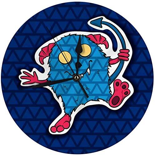 Last Dance Orologio da Parete Moderno Divertente Halloween Blu con Corna Rosa Freak Insolito Personaggio dei Cartoni Animati Mostro Decorativo Orologio Silenzioso Rotondo 9.8 '