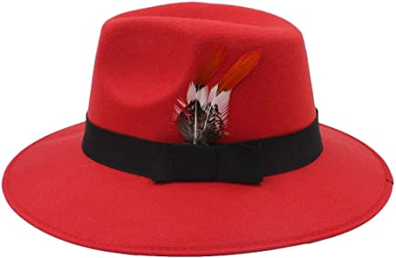 2019 Women Fedora Hat, Jazz Hat, Autumn and Winter Black Loose Head Hat Fashion Men and Women Hat Feathers (Color : Red, Size : 56-58CM)