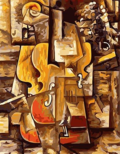 DIY Digitale Ölgemälde,DIY Malen Nach Zahlen Picasso Violine Handgemalte Malerei Auf Leinwand Wohnkultur Für Wohnzimmer Geschenk Wandkunst Bild Rahmenlose 40X50 cm