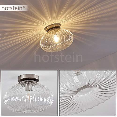 Deckenleuchte Edane, runde Deckenlampe aus Metall/Glas in Nickel-matt, 1-flammig, 1 x E27-Fassung max. 60 Watt, Retro-Leuchte mit Lichteffekt, LED Leuchtmittel geeignet