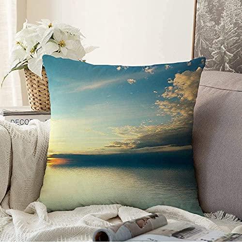 BONRI Almohada decorativa olas del Pacífico Panorama Sunset nublado luz del sol amanecer naturaleza parques climatológicos al aire libre Ripple Square Cozy funda de cojín, 50,8 x 50,8 cm