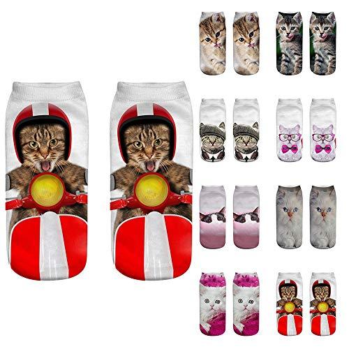 Lot Chaussettes Courtes Unisexes DrôLes, Cheville ImpriméEs par Chat 3D Sport Fil D'Ecosse Dim Fantaisie Invisibles Coton Coeur Basses Hautes Rayures Running Roxy (C (8paires), Taille Unique)