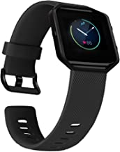 UMAXGET Compatible with Fitbit Blaze Bands with Metal Frame, Silicone Soft Sport Smartwatch Replacement Wristband for Men Women, Black Band with Black Frame