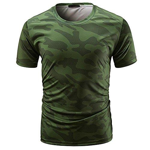 ❤Venmo Camisetas Hombre Originales,Camisas Hombre,Deportivas Hombre,Polos Hombre,Hombres Casual Camiseta de Manga Corta de Camuflaje,Hombres Slim Fit Camisetas Tops Blusa (Verde ejército, XL)