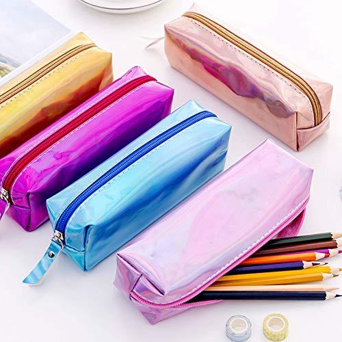 FafSgwq Reflektierende Laser-Bleistift-Kasten-Stift-Kasten-Briefpapier-Reißverschluss-Beutel-Speicher-Organisator Für Mädchen-Frauen-Erwachsen-jugendlich Geschenk Blau