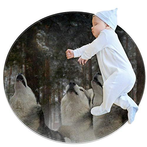PLOKIJ Howl at The Moon Trio Fun Tapis de Jeu pour bébé Tapis de Jeu de Sol Tapis de Jeu pour Enfants bébé Enfant Tapis Circulaire Mobile 27,6x27,6IN, Multi01, 70x70cm/27.6x27.6IN