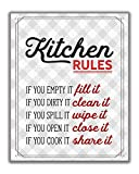 Red Retro Kitchen Rules Wall Art Print - 8x10 UNFRAMED Gray, Red & White Funny Kitchen PHOTO PAPER Print for Modern Farmhouse, Rustic, Vintage, Cottage, Country Decor.